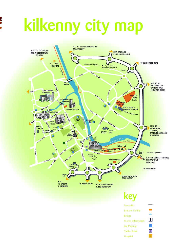 Mapa de los atractivos turísticos de Kilkenny