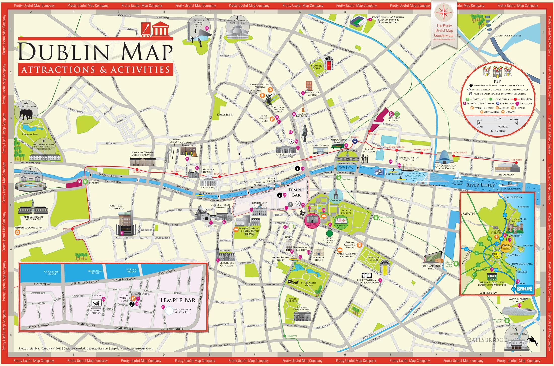 Mapas de Dubln  Mapa turstico de Dubln