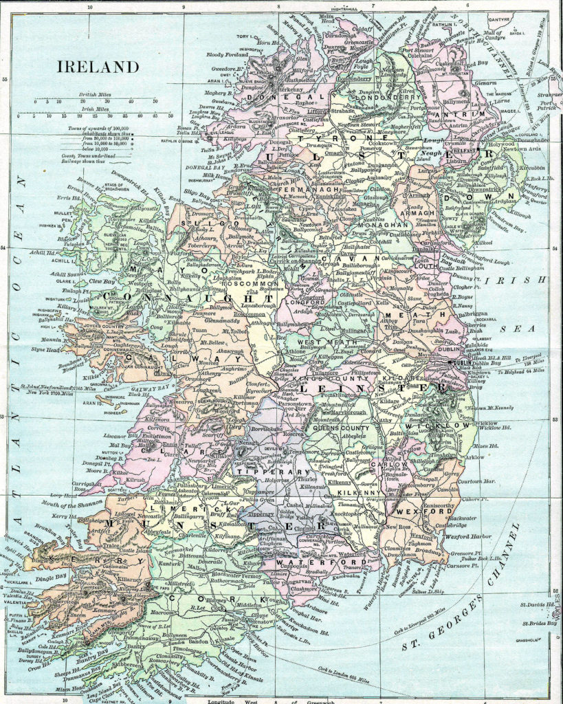 Mapa de poblaciones de Irlanda