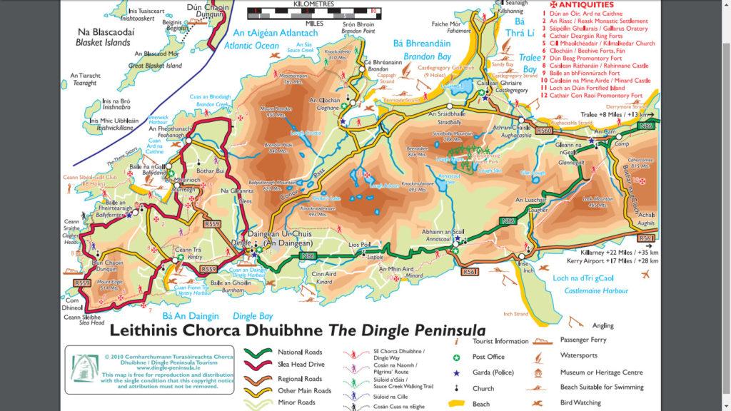 Mapa de la Península de Dingle