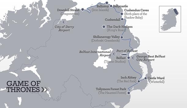 Mapa de localizaciones de Juego de Tronos de Turismo de Irlanda del Norte