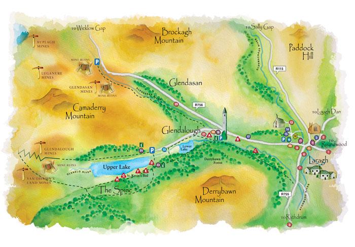 Mapa de Glendalough