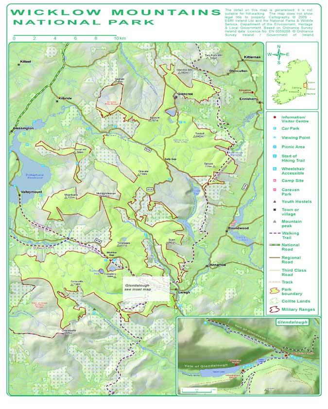 Mapa de las montañas Wicklow