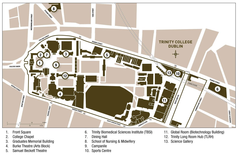 Mapa del Trinity College en Dublín