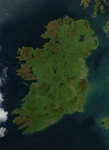 La isla de Irlanda desde vista aérea