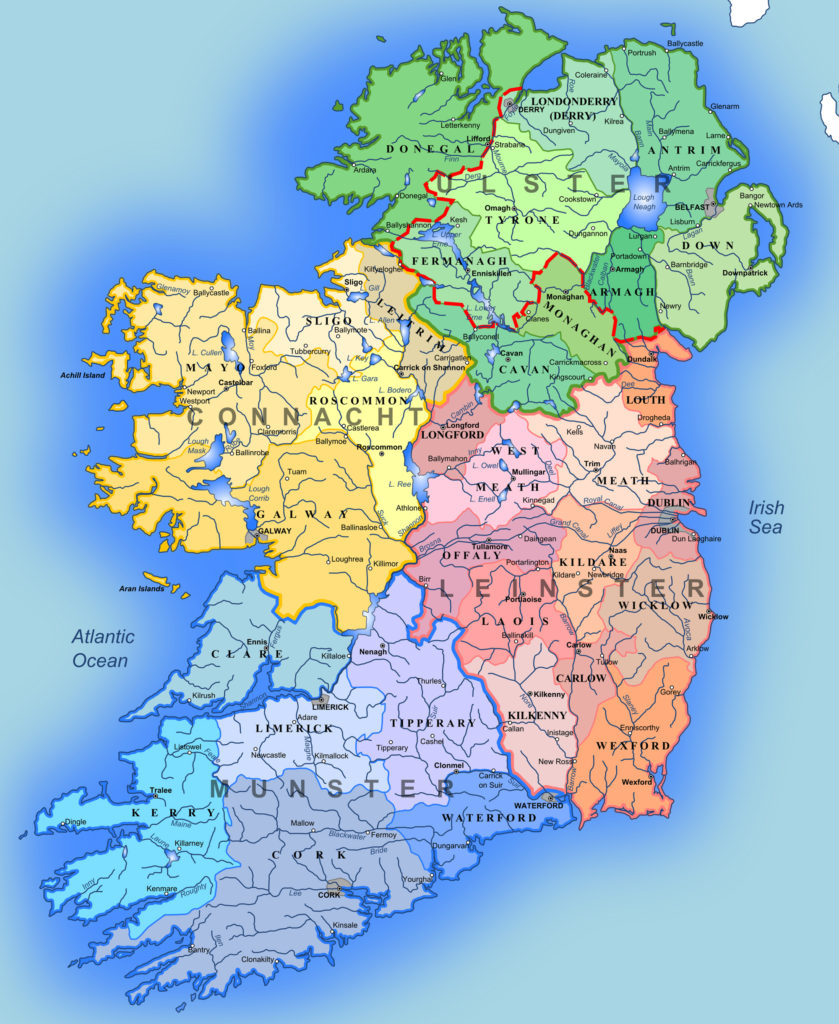 Mapa administrativo de Irlanda