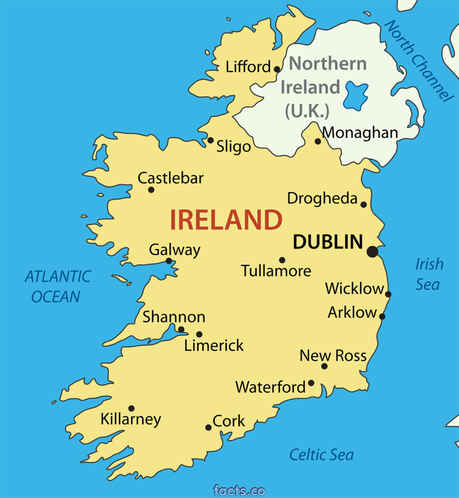 Mapa Irlanda del Norte e Irlanda