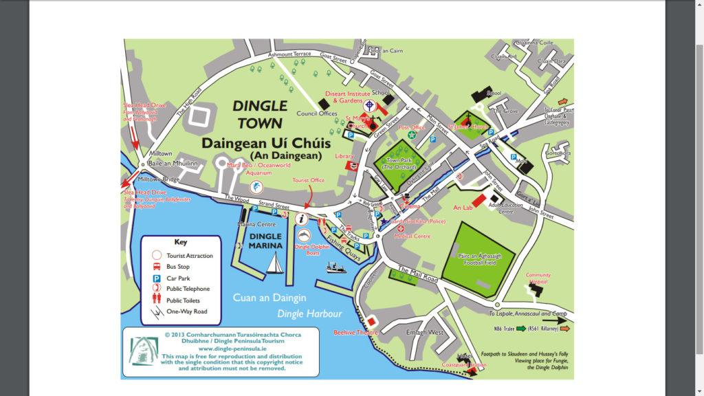 Mapa del centro de la ciudad de Dingle