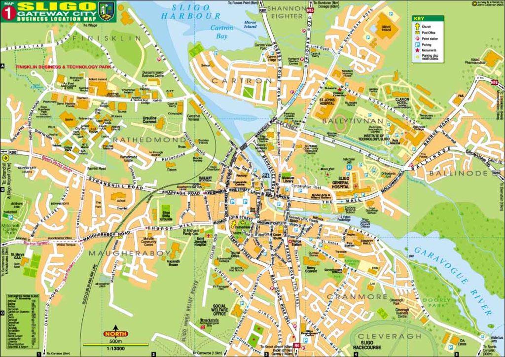 Mapa del centro de Sligo