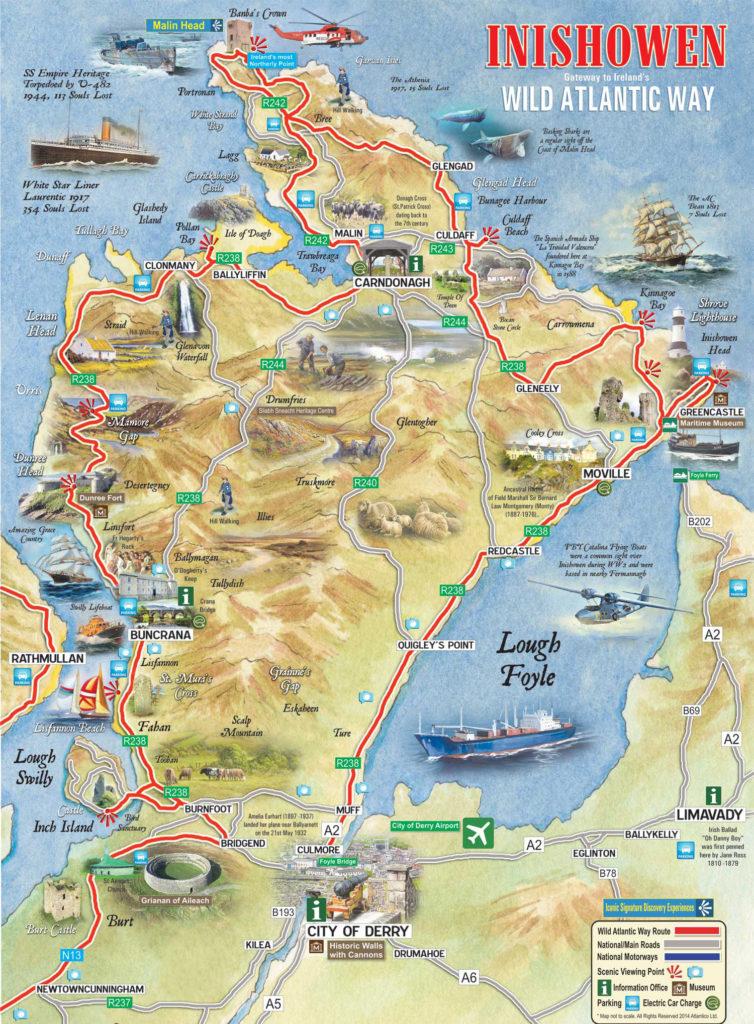 Mapa de los puntos de interés de la península de Inishowen